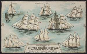 Trade card for The United States Mutual Accident Association, 320 & 322 Broadway, New York, New York, undated