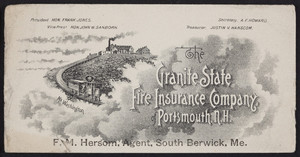 Trade card The Granite State Fire Insurance Company of Portsmouth, N.H., Portsmouth, New Hampshire, undated