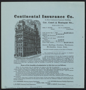 Advertisement for the Continental Insurance Co., corner Cout & Montague Streets, Brooklyn, New York, June 1882