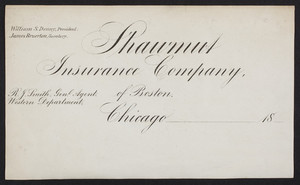 Letterhead for the Shawmut Insurance Company of Boston, Chicago, Illinois, 1800s
