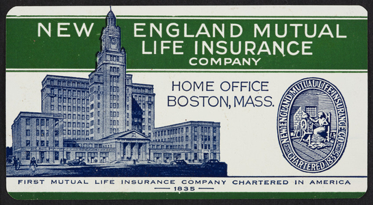 Trade card for the New England Mutual Life Insurance Company, Boston, Mass., 1949