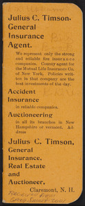 Notebook for Julius C. Timson, general insurance, real estate and auctioneer, Claremont, New Hampshire, 1897