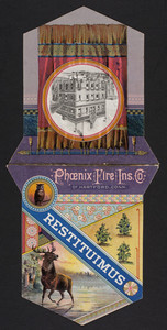 Trade card for the Phoenix Fire Insurance Company of Hartford, Connecticut, 1883