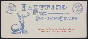Trade card for the Hartford Fire Insurance Company, Hartford, Connecticut, 1916