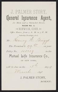 Trade card for J. Palmer Story, general insurance agent, 161 Main and 15 Shetucket Street, Room No. 3, Norwich, Connecticut, 1891