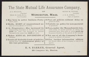 Trade card for The State Mutual Life Assurance Company of Worcester, Mass., 1888