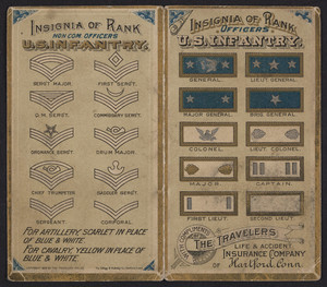 Insignia of rank officers U.S. Infantry, The Travelers Life & Accident Insurance Company of Hartford, Connecticut, 1888