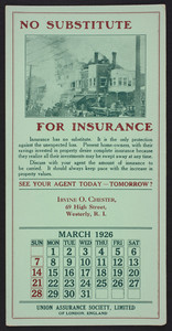 Trade card for the Union Assurance Society, Ltd. of London, England, 1926