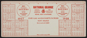 Trade cards for the National Grange Mutual Liability Company, National Grange Fire Insurance Company, Keene, New Hampshire, 1937-1938