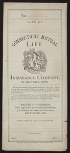 Insurance policy application for the Connecticut Mutual Life Insurance Company of Hartford, Connecticut, Baltimore, Maryland, dated June 5, 1886