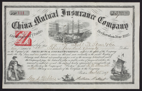 Certificate of profits for the China Mutual Insurance Company, Boston, Mass., dated January 15, 1887