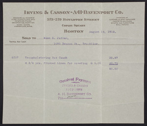 Billhead for Irving & Casson, A.H. Davenport Co., 573-579 Boylston Street, Copley Square, Boston, Mass., dated August 15, 1918