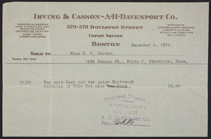 Billhead for Irving & Casson, A.H. Davenport Co., 573-579 Boylston Street, Copley Square, Boston, Mass., dated December 2, 1920