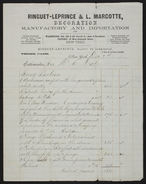 Billhead for Ringuet-Leprince & L. Marcotte, decoration, warehouse, 343, 345 & 347 4th Street, east of Broadway, factory, 55 West 16th Street, New York, New York, dated December 2