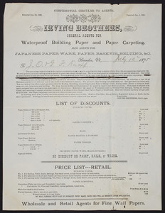 Confidential circular to agents, Irving Brothers, general agents for waterproof building paper and paper carpeting, Brandon, Vermont, dated July 14, 1875