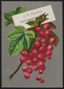 Trade card for J.H. Crandell, watchmaker & jeweler, 7 North Street, Salem, Mass., undated