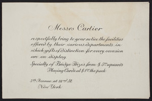 Brochure for Cartier, jewelry, 5th Avenue at 52nd Street, New York, New York, undated