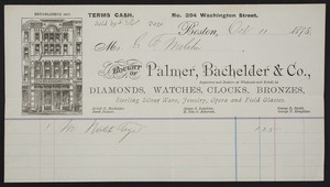 Billhead for Palmer, Bachelder & Co., importers and dealers, at wholesale and retail, in diamonds, watches, clocks, bronzes, No. 394 Washington Street, Boston, Mass., dated October 11, 1875