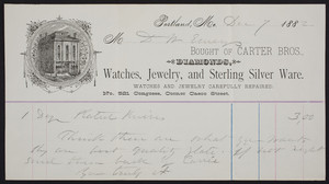 Billhead for Carter Bros., diamonds, watches, jewelry and sterling silver ware, No. 521 Congress, corner Casco Street, Portland, Maine, dated December 7, 1882
