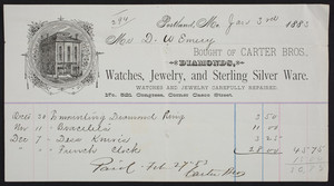 Billhead for Carter Bros., diamonds, watches, jewelry and sterling silver ware, No. 521 Congress, corner Casco Street, Portland, Maine, dated January 3, 1883