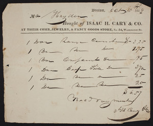 Billhead for Isaac H. Cary & Co., comb, jewelry & fancy goods store, No. 54 Washington Street, Boston, Mass., dated October 10, 1828