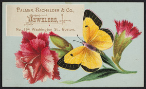 Trade card for Palmer, Bachelder & Co., jewelers, No. 394 Washington Street, Boston, Mass., undated