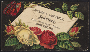 Trade card for Currier & L'Heureux, jewelers, 2040 Washington Street, Boston Highlands, Mass., undated