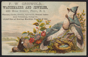 Trade card for F.W. Griswold, watchmaker and jeweler, 493 High Street, Providence, Rhode Island, undated