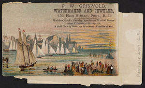 Trade cards for F.W. Griswold, watchmaker and jeweler, 493 High Street, Providence, Rhode Island, undated