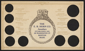 Trade card for The E.B. Horn Co., jewelers, 429 Washington Street, Boston, Mass., undated