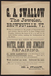 Handbill for G.A. Swallow, jeweler, Brownsville, Vermont, undated