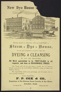 Handbill for The National Steam Laundry & Dye House, F.P. Cox & Co., corner of Main and Haskins Streets, Malden, Mass., undated