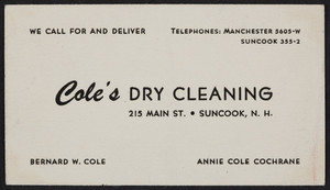 Trade card for Cole's Dry Cleaning, 215 Main Street, Suncook, New Hampshire, undated