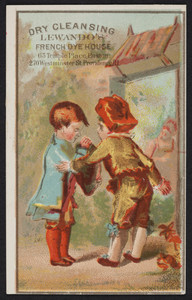 Trade card for Lewando's French Dye House, dry cleansing, 65 Temple Place, Boston, Mass. and 270 Westminster Street, Providence, Rhode Island, undated
