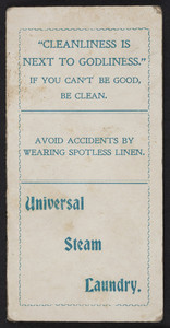 Trade card for the Universal Steam Laundry, corner Pearl and Congress Streets, Portland, Maine, 1892