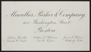Business card for Macullar, Parker & Company, 400 Washington Street, Boston, Mass., undated