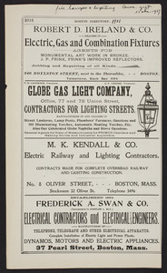 Advertisements for Boston lighting suppliers, Boston, Mass., 1901
