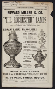 Advertisement for Edward Miller & Co., manufacturers of The Rochester Lamps, Meriden, Connecticut, 1891