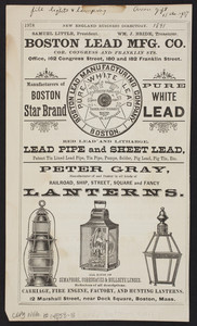 Advertisement for Peter Gray, manufacturer of and dealer in all kinds of railroad, ship, street, square and fancy lanterns, 12 Marshall Street, near Dock Square, Boston, Mass., 1891