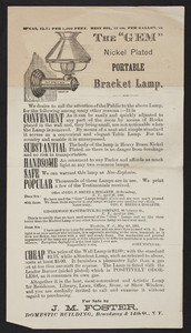 Handbill for The Gem Nickel Plated Portable Bracket Lamp, J.M. Foster, Domestic Building, Broadway & 14th Streets, New York, New York, 1880