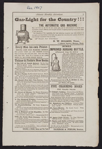 Advertisement for The Automatic Gas Machine, D.W. Holmes, 7 Liberty Square, Boston, Mass., December 1867