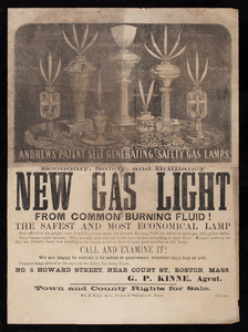 Advertisement for Andrews' Patent Self-Generating Safety Gas Lamps, G.P. Kinne, agent, No. 5 Howard Street, near Court Street, Boston, Mass., 1857