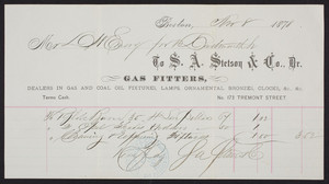 Billhead for S.A. Stetson & Co., gas fitters, No. 173 Tremont Street, Boston, Mass., dated November 8, 1878