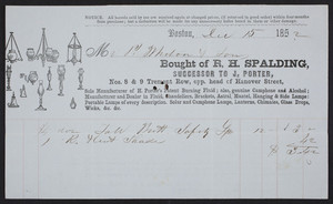 Billhead for R.H. Spalding, lighting fluid and lamps, Nos. 8 & 9 Tremont Row, opposite head of Hanover Street, Boston, Mass., dated December 15, 1852