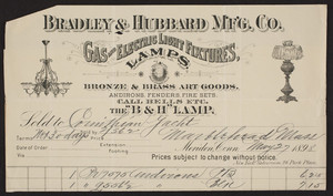 Billhead for Bradley & Hubbard Mfg. Co., gas and electric light fixtures, Meriden, Connecticut, dated May 27, 1898