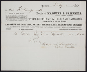Billhead for Maguire & Campbell, manufacturers of sperm, elephant, whale and lard oils, Counting House, 100 State Street, Boston, Mass., dated February 1, 1861