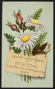 Trade card for R. Hollings & Co., elegant parlor lamps and fine gas fixtures, 547 Washington Street, Boston, Mass., 1877