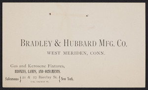 Trade card for Bradley & Hubbard Mfg. Co., gas and kerosene fixtures, West Meriden, Connecticut, 1876
