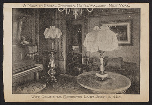 Trade card for the Rochester Lamp Co., 42 Park Place, 37 Barclay Street, New York, New York, 1893