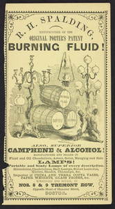 Advertisement for R.H. Spalding, burning fluid, Nos. 8 & 9 Tremont Row, opposite head of Hanover Street, Boston, Mass., 1855